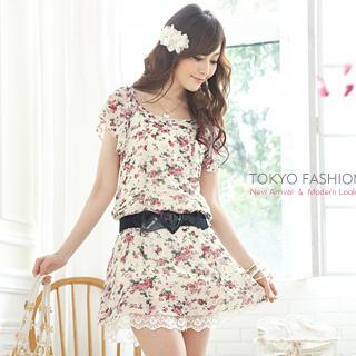 "Buy Tokyo Fashion Floral Chiffon Dress with ""Heart"" Belt 1022911348"