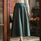 Paneled Lace-Up A-Line Skirt 1596