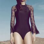 Lace Panel Long-Sleeve Swimsuit 1596