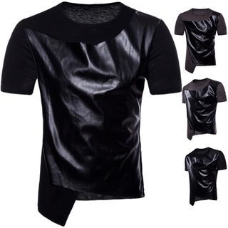 Short-Sleeve Faux Leather Panel Top 1066418253