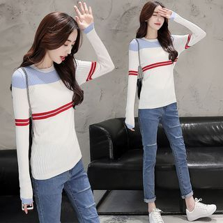 Stripe Ribbed Knit Top 1054784953