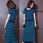 Set: Short-Sleeve Knit T-Shirt + Midi Skirt 1596