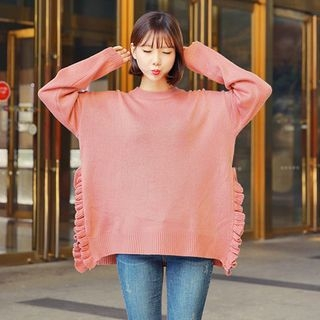 Frilled-Trim Loose-Fit Knit Top 1063148896