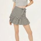 Bow-Accent Gingham Panel A-Line Skirt 1596