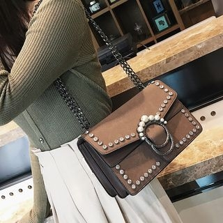 Faux Pearl Chain Strap Crossbody Bag
