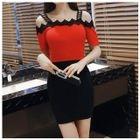 Crochet Trim Off-Shoulder Short-Sleeve Knitted Dress 1596