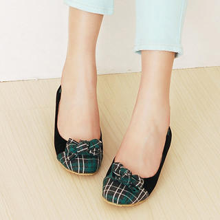 Picture of KAWO Bow-Accent Plaid Flats 1022916728 (Flat Shoes, KAWO Shoes, China Shoes, Womens Shoes, Womens Flat Shoes)