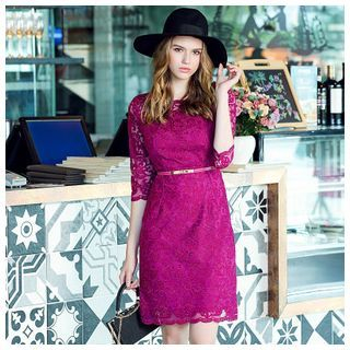 Elbow-Sleeve Lace Sheath Dress 1045692859