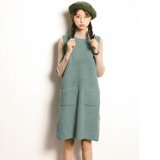 Ribbed Sleeveless Knit Dress 1054072226