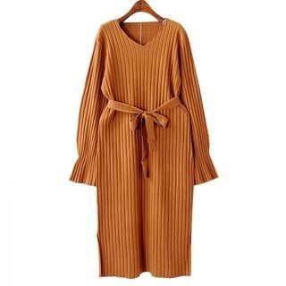 V-Neck Rib Knit Dress 1063161731