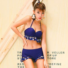 Set: Ruffle Trim Bikini Top + Swim Shorts + Cover-Up 1596