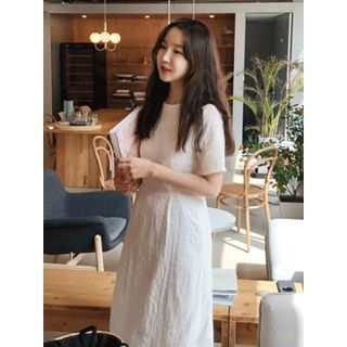 Round-Neck Checked Long Dress 1065931896