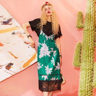 ELF SACK Sleeveless Lace-Panel Dress