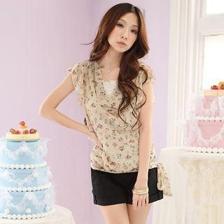 Buy Tokyo Fashion Set: Floral Print Chiffon Top + Camisole 1022411890