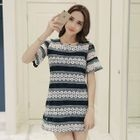 Short-Sleeve Panel Ruffled Dress 1596