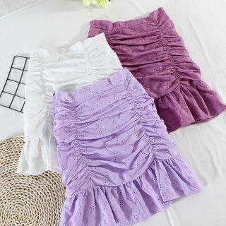 Image of Eyelet Lace Mini Pencil Skirt