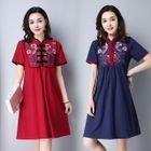 Flower Embroidered Mandarin Collar Short Sleeve Dress 1596