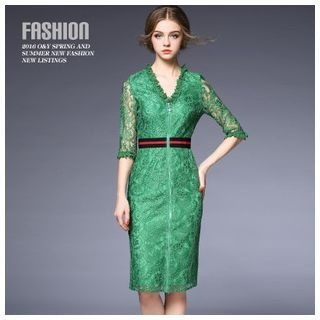 Elbow-Sleeve Lace Sheath Dress 1048837418