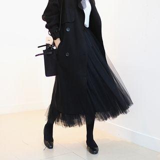 Band-Waist Tulle Long Skirt 1054763769