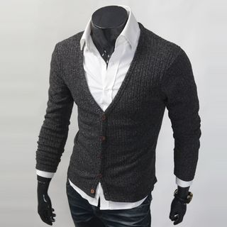 V-Neck Ribbed Cardigan 1058272096