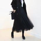 Band-Waist Tulle Long Skirt 1596