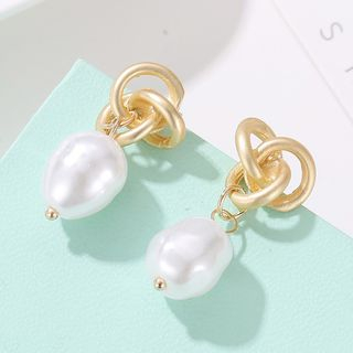 Alloy Knot Faux Pearl Dangle Earring 2571-1 - Gold - One Size