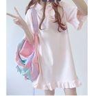 Plain Frill Trim Short Sleeve Dress 1596