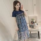 Maternity Set: Short-Sleeve T-Shirt Dress + Floral Print Strappy Dress 1596