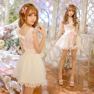 Frilled Trim Tie Waist Dress 1049915816