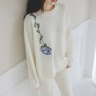 Drop-Shoulder Flower-Embroidered Knit Top 1596