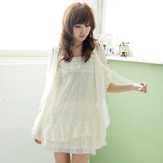 Buy MYHEART Set: Sleeveless Lace Tulle Dress + Chiffon Cardigan 1022467633