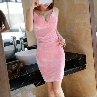 Velvet Deep Plunge Spaghetti Strap Sheath Dress 1060703106