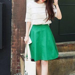 Plain A-Line Skirt 1050653768