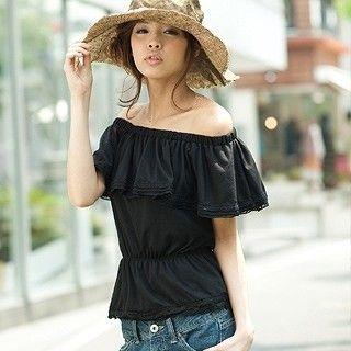 Picture of ageha@shibuya Cape Collar Lace-Trim Top Black - One Size 1022589681 (ageha@shibuya Tees, Womens Tees, Japan Tees, Causal Tops)