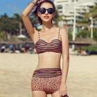 Set: Striped Playsuit + Bikini Top + Leopard Print Swim Shorts 1596