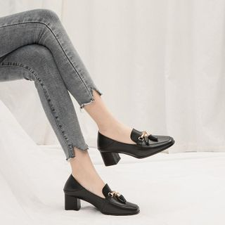 Image of Block Heel Buckled Loafers