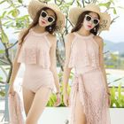 Set: Lace Panel Swimsuit + Cover-Up 1596