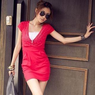 Buy PUFFY Rhinestone Details V-Neck Dress 1022521405