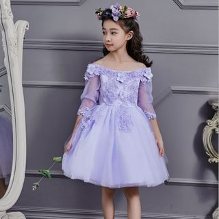 Kids Flower Applique Off-Shoulder Party Dress 1063485330
