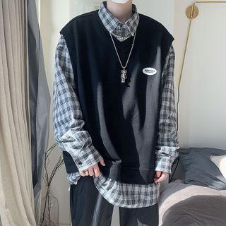 Long-sleeve Mock Two-piece Plaid Sweatshirt