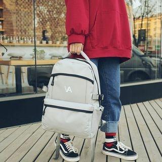 Zipper Lettering Oxford Backpack 1063958349