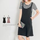 Set : Striped Short-Sleeve T-Shirt + Pinafore Dress 1596
