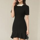 Bow Accent Ruffle Hem Short-Sleeve Dress 1596