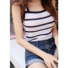 Sleeveless Stripe Knit Top 1596