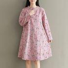 Print Long-Sleeve Mandarin Collar Dress 1596