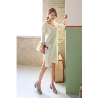 Slit-Sleeve Ribbed Knit Dress 1057597553