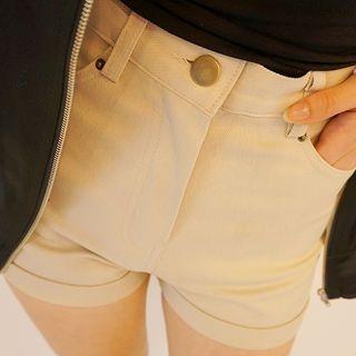 Cuff-Hem Cotton Shorts 1049670493