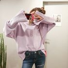 Long-Sleeve Distressed Sweater 1596