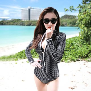 Patterned Long Sleeve Swimsuit 1061253460