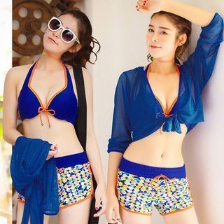 Set: Piped Bikini Top + Printed Swim Shorts + Cover-up 1048140674